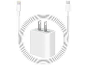 20W USB-C Power Adapter Fast Charging Wall Plug with USBC Charging Cable - Compatible for all iPhone, iPad with Lightning Connector