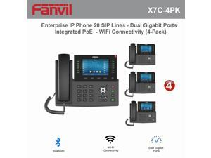 Fanvil X7C High-End Enterprise IP Phone 20 SIP Lines with Dual Gigabit Ports and Integrated PoE and WiFi Connectivity (4-Pack)