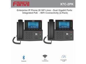 Fanvil X7C High-End Enterprise IP Phone 20 SIP Lines with Dual Gigabit Ports and Integrated PoE and WiFi Connectivity (2-Pack)