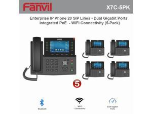 Fanvil X7C High-End Enterprise IP Phone 20 SIP Lines with Dual Gigabit Ports and Integrated PoE and WiFi Connectivity (5-Pack)