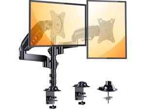 Dual Monitor Stand, 17 to 32 Inch Monitor Desk Mount, Each Monitor Arm Holds Up to 19.84lbs, Height Adjustable Monitor Mount with C Clamp/Grommet,75/100mm Vesa Mount