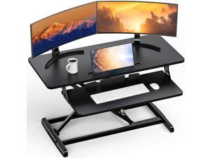 Standing Up Desk Converter Height Adjustable Sit Stand Desk with Removable Keyboard Tray, 35 Inch Large Desk Riser Ergonomic Gas Spring Dual Monitor Workstation for Home Office