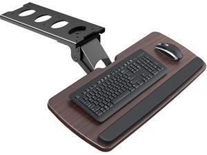 "Keyboard Tray Under Desk,360 Adjustable Ergonomic Sliding Keyboard & Mouse Tray, 25"" W x 9.8"" D, Brown"