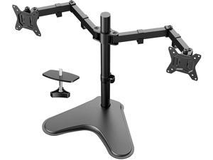 13-32'' Dual Monitor Stand, Heavy-Duty Free Standing Two Arm Monitor Mount for Two 13 to 32 inch LCD Flat Curved with Swivel, Swivel and Tilt, 17.6lbs per Arm