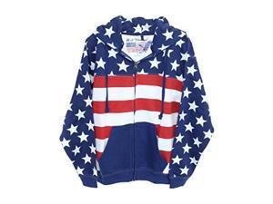 Unisex Proud American Flag Zip Up Hoodie Sweatshirt USW3543 , White , Medium