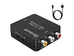 AV to HDMI Converter,Ozvavzk 1080P RCA Composite CVBS to HDMI Video Audio Converter Adapter with USB Charge Cable Support PAL/NTSC Compatible with PC Xbox PS4 TV STB VCR Camera DVD (Black)