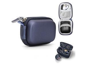 Moonstruck True Wireless Earbuds Case for Jabra Elite 75t, Elite 65t, Elite Active 65t, Elite Sport True Wireless Earbuds, mesh Pocket for Cable and Elastic Secure Strap, Easy to go Carabiner (Blue)