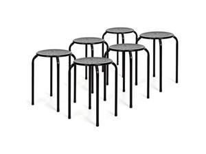 Best Choice Products Metal Backless Round Top Stools, Set of 6, Black