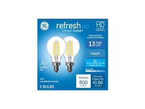 Ge refresh 60 watt equivalent A15 Daylight Dimmable LED Light bulb Candelabra base (2 pack)