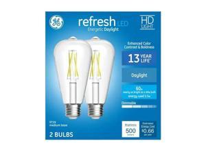 GE refresh LED Vintage 60 watt equivalent Daylight Dimmable Decorative light bulb (2 pack)