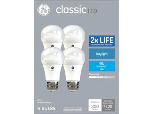 GE classic LED 60 watt equivalent A19 Daylight Dimmable LED light bulbs (4 pack)