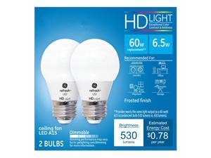 GE Lighting 92208 LED Refresh HD 6.5-watt (60-watt Replacement), 530-Lumen A15 Light Bulb with Medium Base, Daylight, 2-Pack