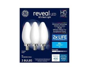 GE reveal LED HD light 60 watt replacement, BC, candelabra base, frosted finish, dimmable LED (3 bulbs)