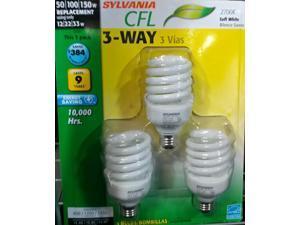 (3 pack) Sylvania CFL 3-Way 50/100/150 watt equivalent 600/1200/2150 lumens, Soft White 2700K Compact Fluorescent Light Bulbs