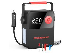 FNNEMGE 150PSI Air Compressor, Tire Inflator uses 120W Copper Motor,DC 12V Auto Tire Pump with LED Light, Digital Air Pump for Car Tires, Bicycles and Other Inflatables