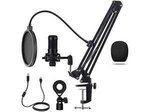 Condenser Microphone, Intelligent Noise Reduction Cardioid Computer Mic Kit with Adjustable Scissor Arm, Shock Mount, Pop Filter for Recording, Podcasting, Voice Over, Home Studio, YouTube