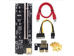 PCI-E Riser for Bitcoin/Litecoin/ETH Coin PCle VER009S Plus 1X to 16X Riser Adapter Card with USB 3.0 Cable - 3 Packs