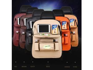 Multifunctional Foldable PU Leather Seat Back Organizer Hanging Seat Back Bag Cargo Organizer With Table-Black