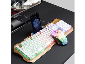 FRCOLOR Gaming Keyboard Mouse Set Rianbow Backlit Mechanical Keyboard With RGB LED - White