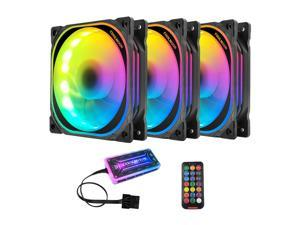FRCOLOR LED 120mm With Remote Control Chassis Fan PC Cooling Ultra-Quiet Fan, 12V 6Pin, Sound-Absorbing Rubber Pad, For Computer Chassis CPU Air Cooler And Liquid Radiator System Components-3 Pieces
