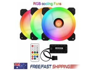 FRCOLOR 3 Fans Computer Case Fan 120mm RGB Colorful PC CPU Cooling Fan Cooler Silent High Airflow with RGB Controller - Black