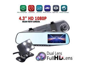 FRCOLOR Advanced Reversing Dual Driving Recorder 1080P HD Dual Lens 170° Wide Angle Dual Lens Vehicle 4.3 Inch LCD Dashboard  DVR Camera With Gravity Sensor And Super Night  Vision