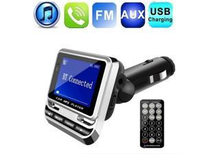 FRCOLOR Car MP3 Player Multifunctional Support U Disk TF Card Wireless Bluetooth FM Transmitter 1.3 Inch LCD Screen Remote Control Car Kit