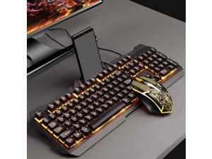 FRCOLOR Backlit Computer Keyboard And Mouse Set, Black Mechanical Keyboard With RGB LED Backlight And Comfortable Mouse