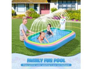 "iBaseToy Splash Pad Sprinkler Pool for Kids Toddlers - 68"" Unicorn Sprinkler Splash Mat, Inflatable Kiddie Baby Swimming Wading Pool, Outdoor Sprinklers Water Toys Games for Boys Girls Backya, Unicorn"