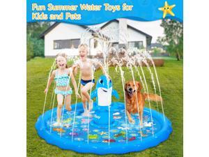 "iBaseToy Splash Pad Sprinkler for Kids - 68"" Inflatable Dolphin Splash Mat Baby Pool Water Sprinklers Toys for Outdoor Backyard Yard Lawn - Kids Sprinkler Water Toys Games for Toddlers (Dolphin Style)"