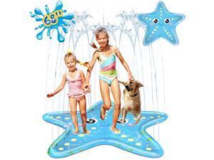 "iBaseToy Splash Pad Sprinkler for Kids, 68"" Starfish Splash Play Mat Inflatable Paddling Pad for Summer Outdoor Backyard Lawn, Tropical Sprinkler Pad Water Toy for Children Infants Toddlers Boys Girls"