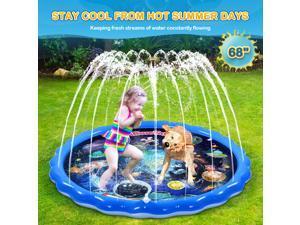 "iBaseToy Splash Pad Sprinkler for Kids Toddlers, 68"" Inflatable Splash Play Mat with Planet Pattern, Outdoor Water Toys Sprinkler Pool Splash Pool for Boys Girls Fun Backyard Sprinkler Splash Pad"