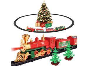 iBaseToy Christmas Train Set - Around The Christmas Tree with Light & Sound, Cute Christmas Train with track