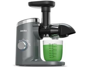 Slow Juicer,Aeitto Masticating Juicer,Juice Extractor,Cold Press Juicer with 2-Speed Modes,Juicer Machines with Reverse Function & Quiet Motor for Vegetables And Fruits,Easy to Clean with Brush Gray