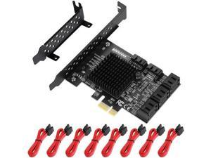 PcIe to SATA Card 8 Port 6G SATA Controller Expansion Card with 8 SATA Cables Low Profile Bracket Adapter for Desktop PC