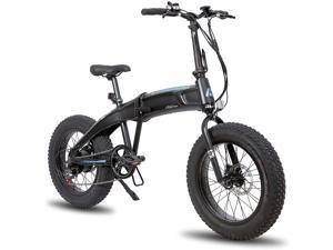 Hiland 500W Aluminum 20 inch Electric Fat Tire Folding Bike Shimano 7 Speed Disc Brake Lightweight & Aluminum Folding Ebike