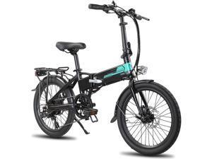 ROCKSHARK Electric Bike Aluminum 20 inch Electric Folding Bike Shimano 7 Speed Disc Brake Lightweight & Aluminum Folding Ebike with Light