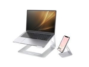 efind Laptop Stand with Phone Stand, Aluminum Computer Riser,  Laptop Cooler Ergonomic Laptops Elevator for Desk, Metal Holder Compatible with 10 to 15.6 Inches Notebook Computer, Silver