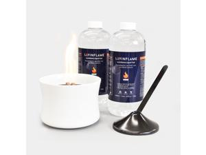 LOVINFLAME Pearl Ceramic Candle with Ethanol-Free Fuel | Minimizes Risks of Flare-ups, Clean-Burning, Wind-Resistant, Indoor and Outdoor Fire Bowl, Portable Tabletop Fireplace (Deluxe, White)