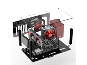 DIY acrylic ATX computer case compatible with Micro-ATX MATX motherboard, stackable open, fully transparent desktop computer game case, open, transparent, desktop, computer layout kit,(With cover)