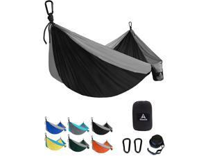 Aodoer Camping Hammock - Travel Hammock with 2 Tree Straps, Double Hammock, Durable Nylon Parachute Portable Hammock for Outdoor, Hiking, Backpacking, Yard