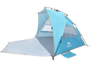 Pop Up Beach Tent - 4 Person Portable Windproof Beach Shade Folding Instant Shelter with UPF50+ Protection, Easy Set Up Carrying Bag Tent Shades for Camping Fishing Hiking