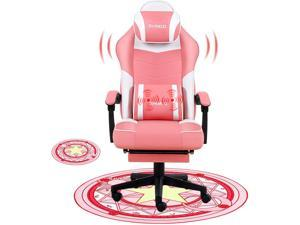 Gaming Chair Office Chair Desk Chair Computer Chair with Footrest Ergonomic with Massage Gamer Chair Office Chairs for Heavy People with Mat, Pink