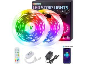 50FT/15M Bluetooth LED Strip Lights,RGB 5050 Smart Led Light with APP Control,Computer Case Led Light Strips Compatible with IR Remote Control, Smartphone Bluetooth Control, Music Sync for Home Decor