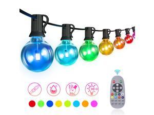 50FT Outdoor RGB String Lights, LED String Lights with 30+3 G40 Globe Bulbs, Dimmable Commercial Waterproof String Lights with Remote Control for Patio, Cafe, Backyard, Garden,Christmas Party