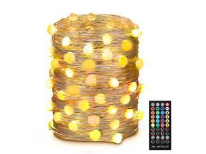 USB Fairy String Lights 10m/32.8ft RGB 16 Colors Fairy Lights Brighter Color 100 LEDs Changing String Lights with 4 Music Modes and 8 Light Modes for Wedding Christmas Party Decoration
