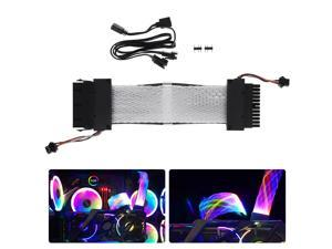 TinkSky 24-Pin RGB Extension Power Supply Mesh ATX Motherboard Extension Cable PSU Cable