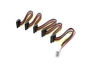 TinkSky SATA Power Cord 4-pin Male to 5-port 15-pin SATA Female Power Supply Cord