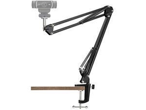 "webcam stand - 14 inch suspension scissor durable bracket with aluminum desk clamp mount - built-in 1/4"" screw for logitech webcam c930e,c930,c920, c922x,c922, brio 4k, c925e,c615"