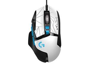 logitech g502 hero k/da high performance gaming mouse - hero 25k sensor, 16.8 million color lightsync rgb, 11 programmable buttons, on-board memory - official league of legends kda